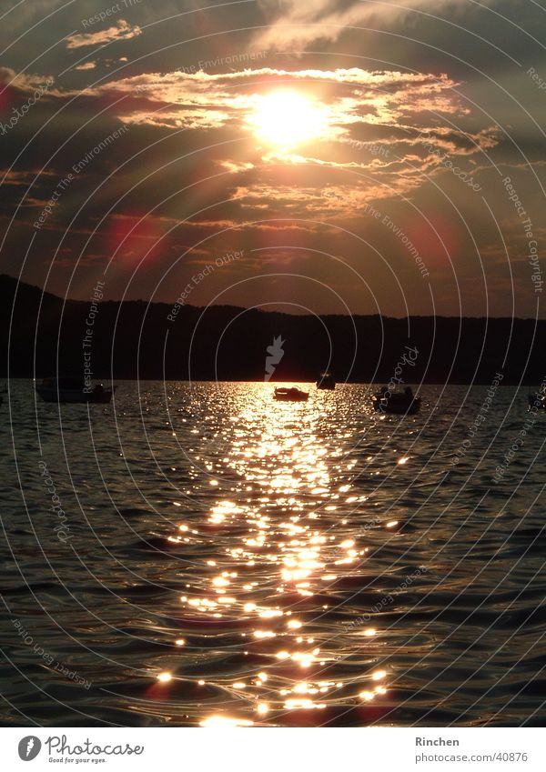 Evening mood Croatia Ocean Light Waves Digital camera Sun