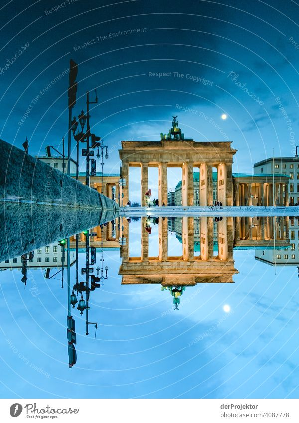Brandenburger Tor in der Reflektion einer Pfütze VII Central perspective Reflection Shadow Copy Space top Twilight Artificial light Light Copy Space right