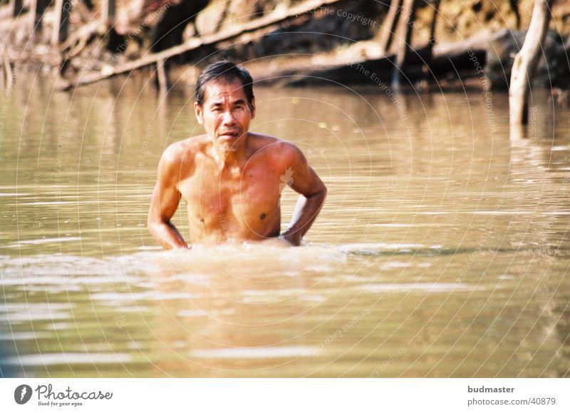 Man Water Dirty Clean Bathtub Wash Soap Personal hygiene Vietnam Mekong