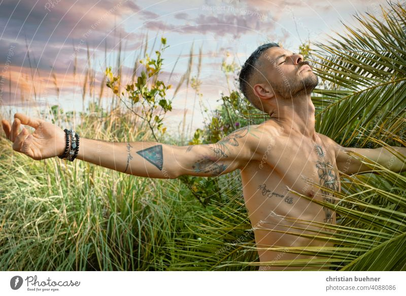 man spreads his arms and breathes in nature Man portrait 30 years Naked Nature plants palms Garden Happy in harmony Sky Joy Climate Climate protection Breathe