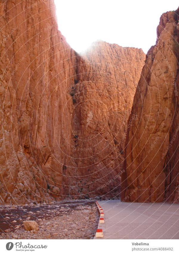 Todra Gorge in the High Atlas, Morocco off Africa North Africa High Atlas Mountains Canyon Valley canyon clammy Red Pink felse Rock Steep Landscape Street