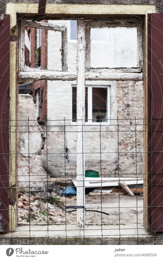 windows. Window House (Residential Structure) Facade Building Wall (building) derelict house Ruin Construction site Old Decline Broken Redecorate Deserted