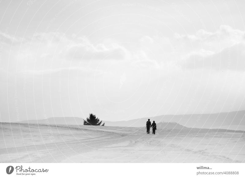 for two in harmony with nature Couple Landscape in twos concord Nature To enjoy Snowscape winter Winter Copy Space B/W Winter mood Winter's day snowy Hiking