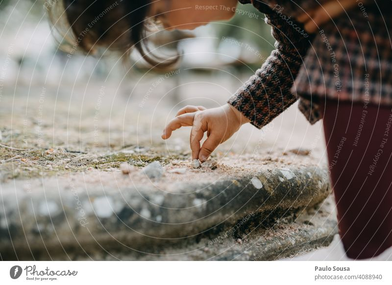 Close up girl playing with sand Child Girl 1 - 3 years Caucasian Close-up Hand Playing Sand Park Infancy Colour photo Toddler Exterior shot Joy