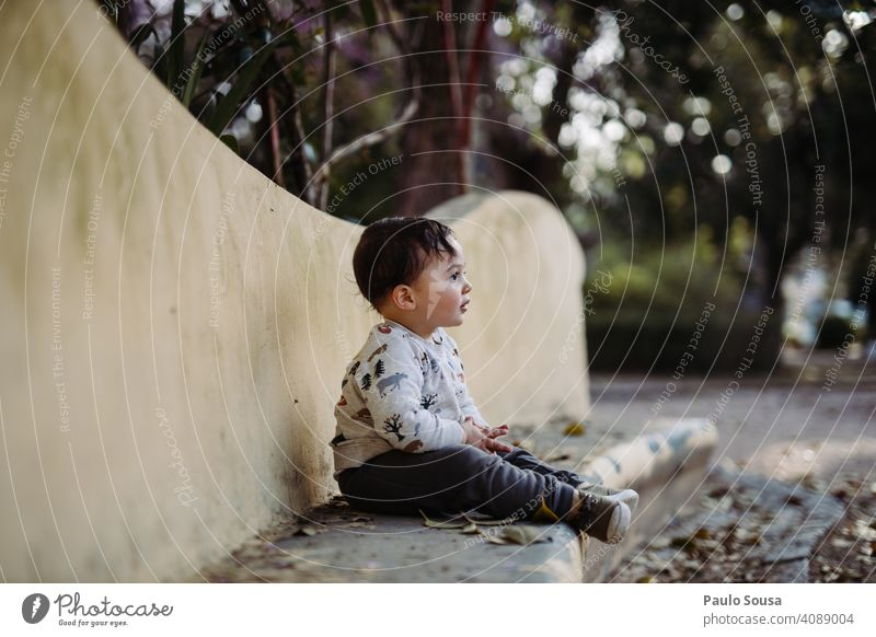 Boy sitting in the park Child 1 - 3 years Caucasian Park Cute Colour photo Infancy Toddler Human being Lifestyle Exterior shot Day Joy Children's game Authentic