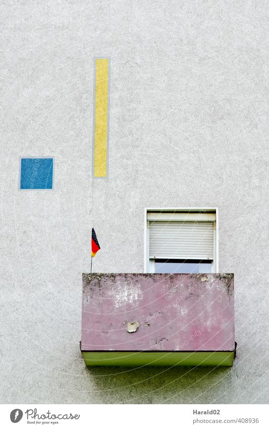 flagpole balcony Facade Balcony Concrete Flag Small Loneliness Germany Portrait format Redevelop Germans Derelict Nationalities and ethnicity