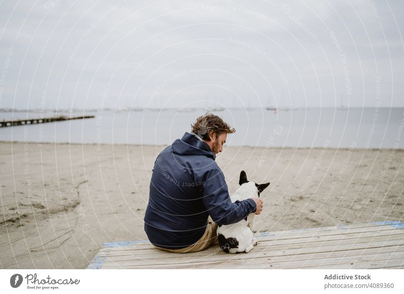 Man and dog resting on beach together man pier sitting embracing admiring sea pet french bulldog male owner fun animal water adult casual friend canine purebred