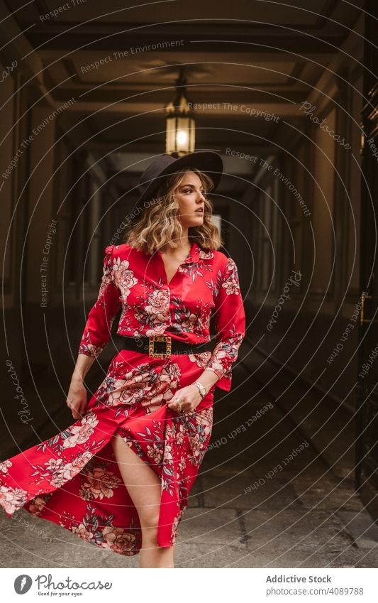 Elegant woman standing in old passage elegant building lamp looking away stylish city female young dress hat outfit trendy pavement structure construction lady