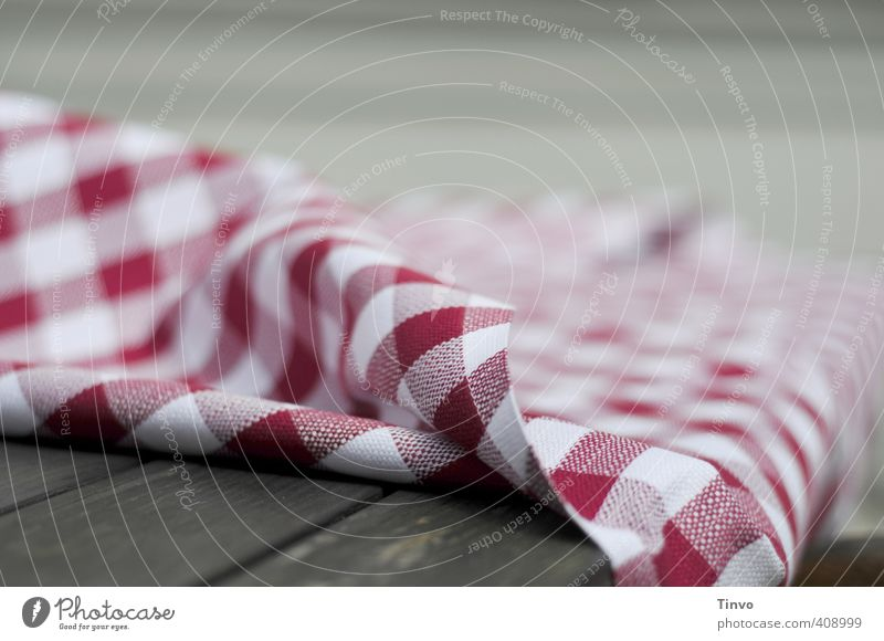 red-white checkered tablecloth Cloth Brown Gray Red White Tablecloth Checkered red/white Wooden table Exterior shot Close-up Pattern Deserted Copy Space right