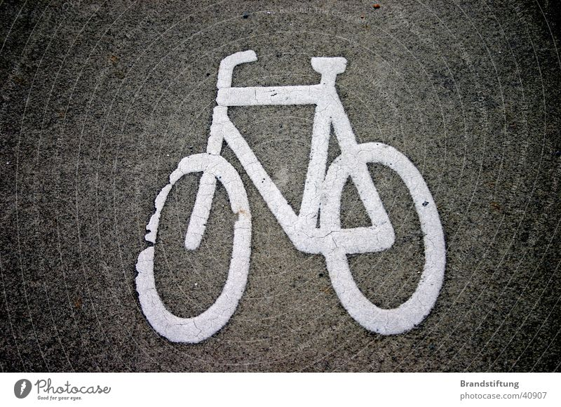 bicycle path Bicycle Cycle path Asphalt Dirty Transport Lanes & trails microgram Signage Street