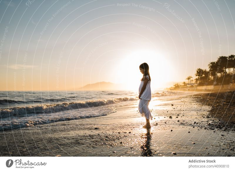 Adorable girl walking on seaside at sunset adorable seashore sunshine beach summer water sunny child childhood happy happiness vacation travel holidays