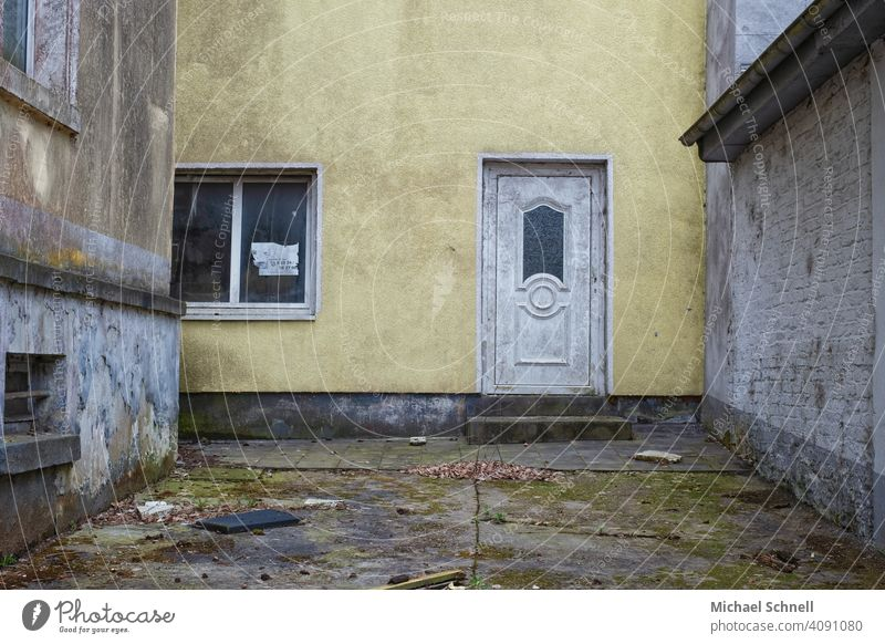 Courtyard of an abandoned house Interior courtyard Architecture House (Residential Structure) Building Dirty Derelict Old Gloomy Yellow Deserted Facade