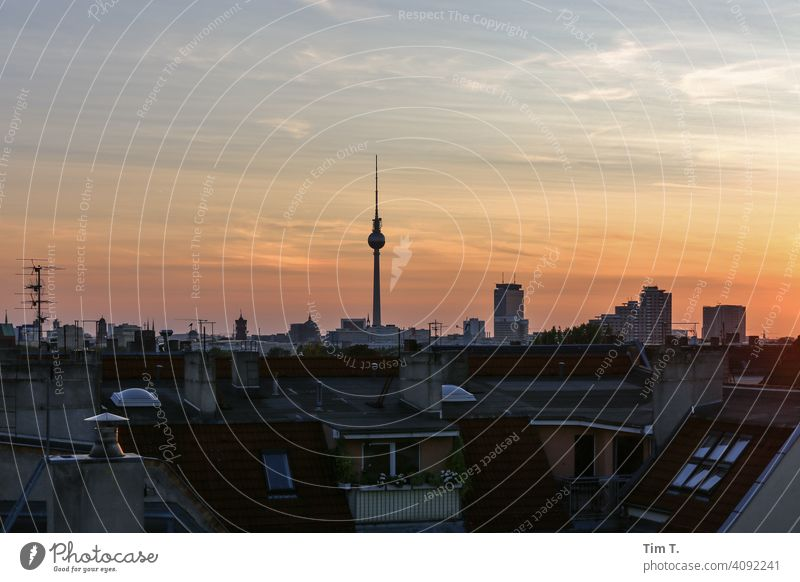 View over the roofs of Berlin at sunset . Television tower berlin you are so wonderful Friedrichshain tv tower Sunset Sky Town Landmark Tower Germany Deserted