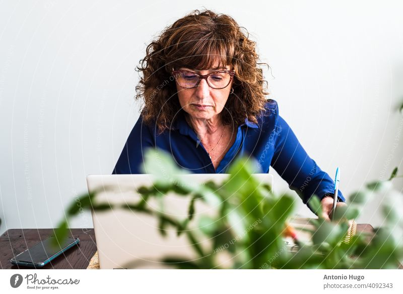 Middle-aged woman working from her living room. writing middle aged home laptop computer sitting indoor communication female mature business desk businesswoman