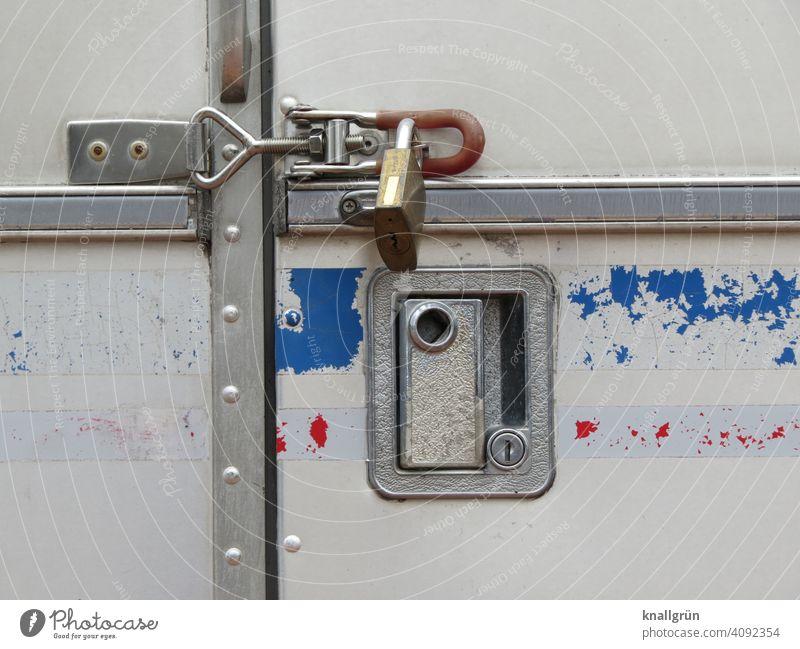 under lock Padlock Safety Protection locked completed sure door Lock metal brackets Metal Old Close-up Closed Door handle Recessed grip peeled off Exterior shot