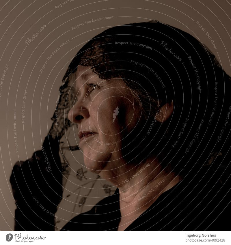 Veiled woman, close-up, profile, monochromatic portrait Portrait photograph veiled Self portrait Woman contemplation Contemplative mournful mourning Grief