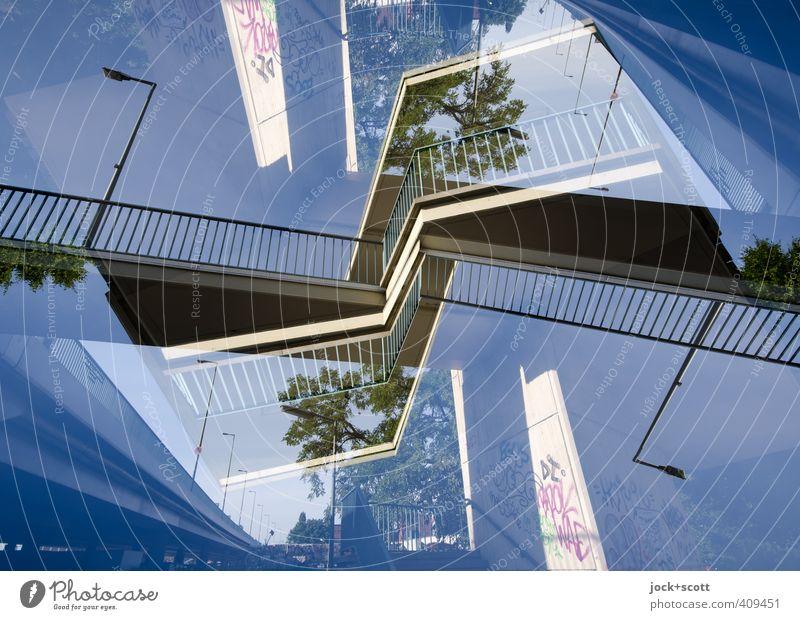 Putlitzer Lanes & trails Line Metal Illuminate Modern Perspective Tall Crazy Concrete Bridge Cool (slang) Uniqueness Cloudless sky Staircase (Hallway) Brave