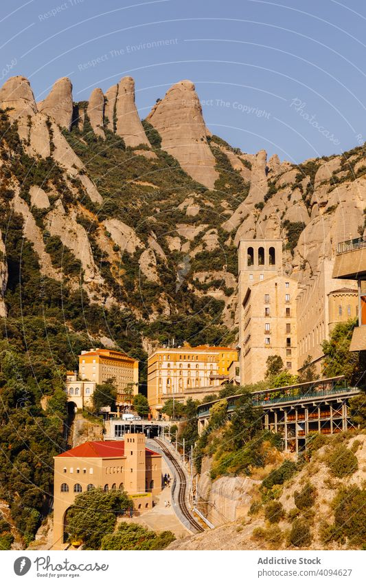 Monastery of the mountain of Montserrat architecture monastery hermit masterpiece sant joan abbey traditional basilica cathedral medieval monument rock nature