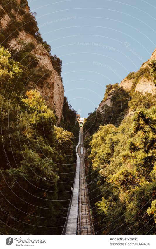 Montserrat rack, Catalonia, Spain mediterranean cremallera funicular railway barcelona landmark cliff scenery summer tourist stone nobody track railroad park