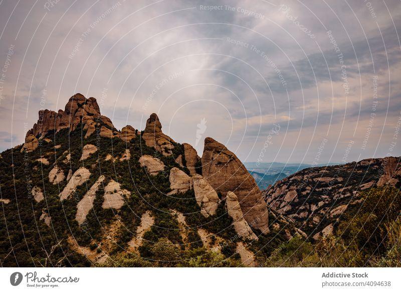 Views of the mountain of Montserrat panorama mountains catalonia spain sunset climb climbing natural landmark tourism summer europe destination natural light