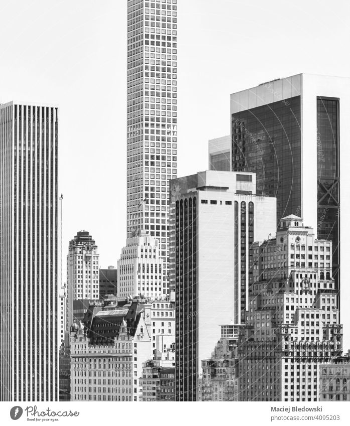 Black and white picture of New York diverse architecture, USA. Manhattan city black and white building cityscape B&W urban tower skyscraper outdoors NYC old
