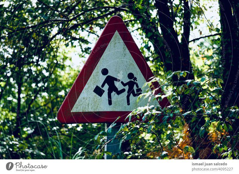 pedestrian traffic signal on the street walker road warning road sign symbol way caution roadsign advice safety outdoors bilbao spain children school