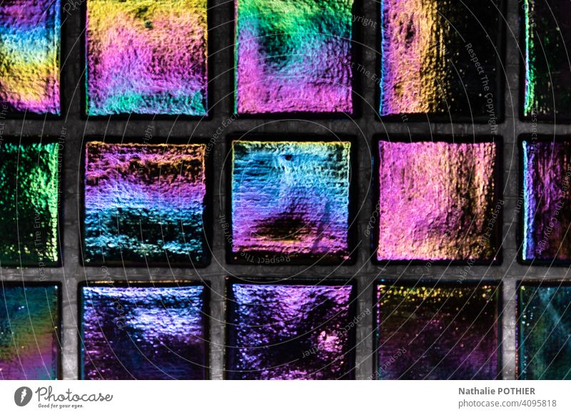 Iridescent tiles with beautiful colors iridescent light Multicoloured Colour Color gradient Colour photo Reflection Play of colours Background picture