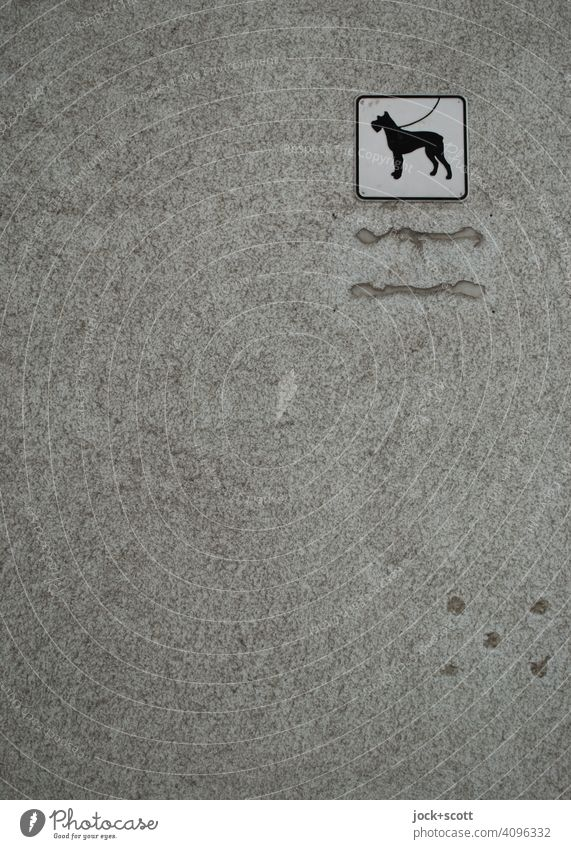 Note without words. Dogs are to be kept on a leash Signage Pictogram Gray Monochrome Plaster Square Wall (building) Ravages of time Weathered filled Simple