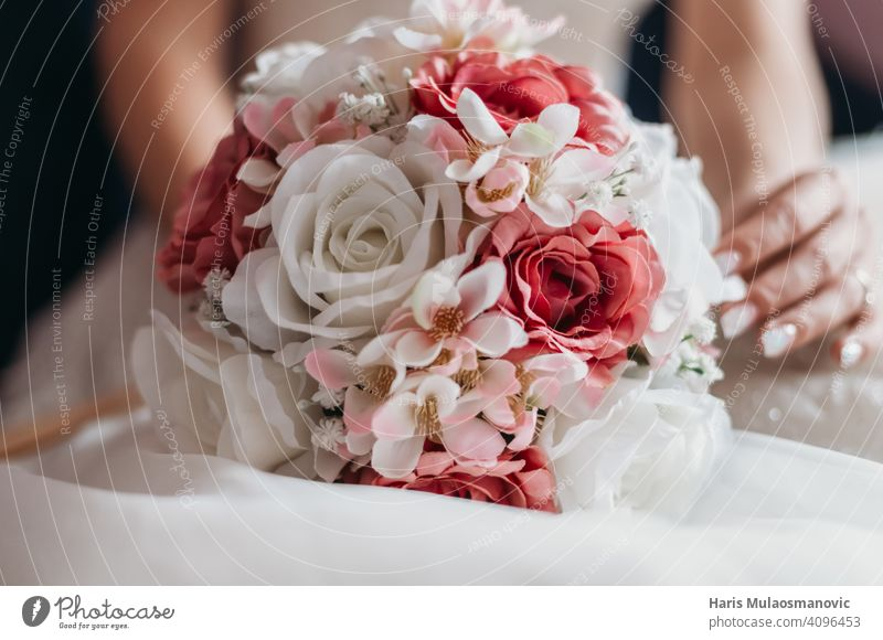 wedding bouquet with red and white roses affectionate background beautiful beauty blossom bridal bride celebration celebrations ceremony close up decoration