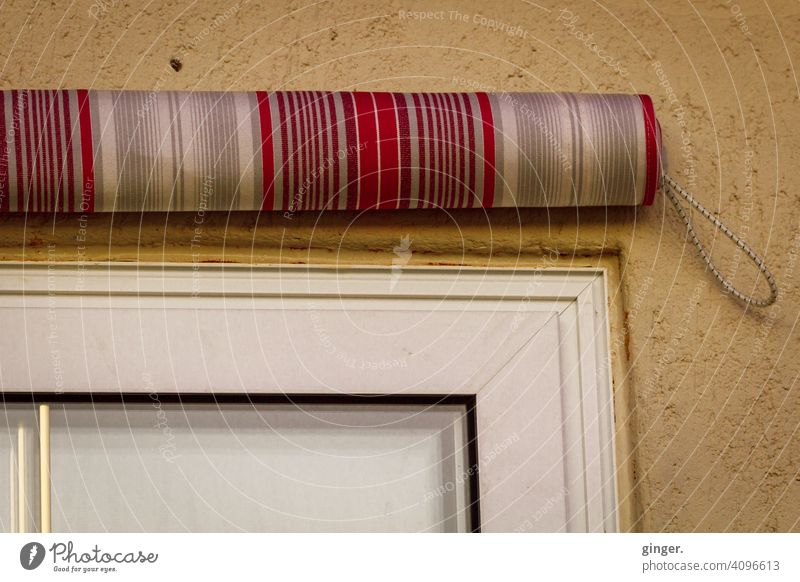 Roller blind on outer wall Wall (building) Exterior Facade Window Window frame Venetian blinds Exterior shot Architecture Building Deserted Wall (barrier)