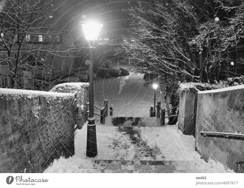 Temperature drop Stairs Wall (building) Wall (barrier) Winter Environment Mysterious Dangerous Snowflake Town Idyll Fluffy Exterior shot Detail