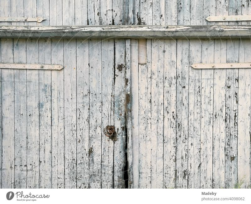 Beautiful large old barn door with peeling white paint in Lage near Detmold in East Westphalia-Lippe Farm farm Barn cheune Agriculture Goal Wooden gate
