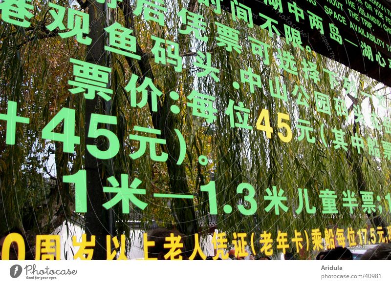 Green Tree Characters Letters (alphabet) Digits and numbers Sign Asia Pasture China Typography Classification Price tag Chinese Price list Hangzhou