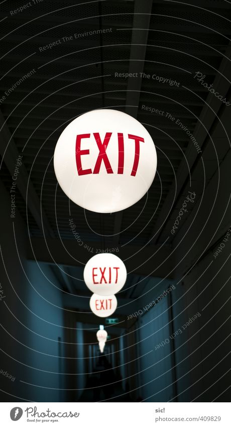 exit Event Hallway Lamp Glass Sign Characters Sphere Running Illuminate Dark Bright Round Blue Red Black White Rescue Target Way out Road marking Colour photo