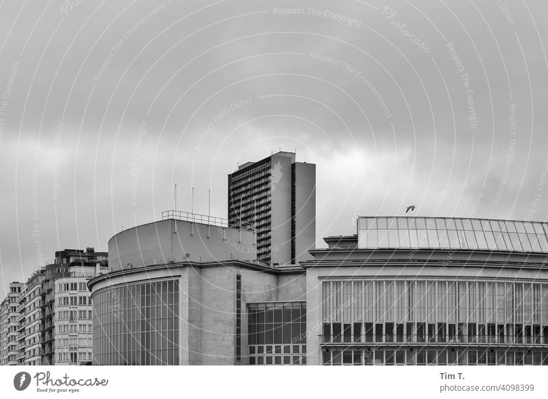 the concert hall on the beach of Oostende in black and white Belgium Beach Exterior shot North Sea coast Deserted Building Berlin Concert House Theatre