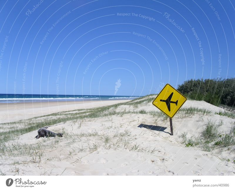 Runway Fraser Island Beach Airplane Australia Yellow Signs and labeling Sand Sky Blue