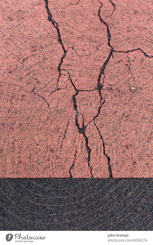 Pull yourself together! Concrete floor Asphalt asphalt surface Crack & Rip & Tear Decline mark path marking Floor covering Weathered weathering