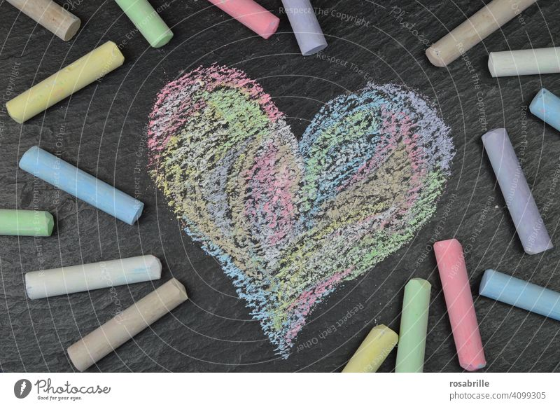 drawn & painted | colorful chalk heart with street chalk on black slate plate Street art Colour conceptually Abstract Painting and drawing (object) Pattern