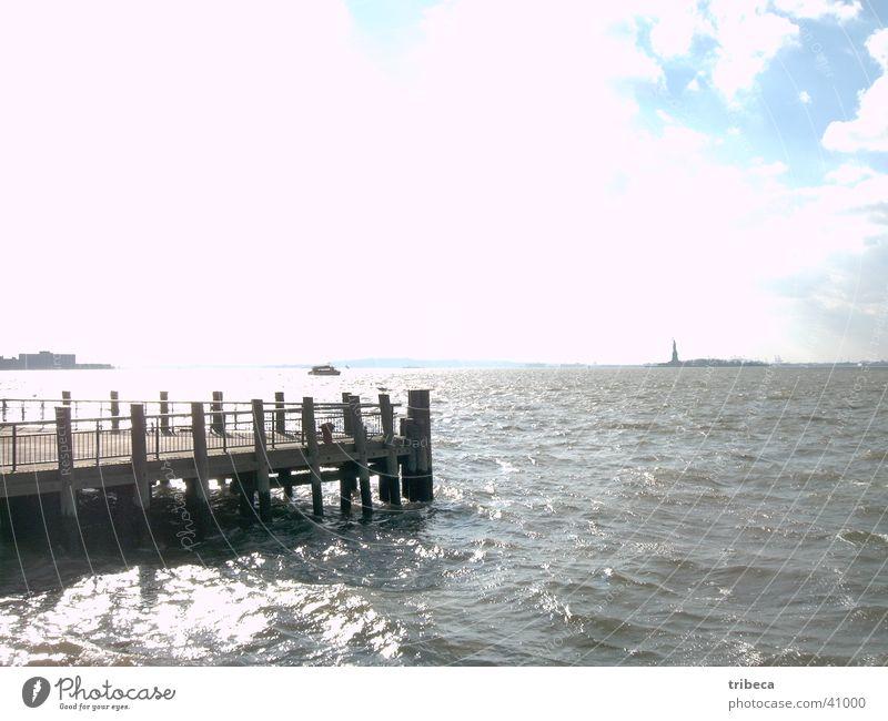 Ocean Far-off places Freedom Footbridge New York City Statue of Liberty North America