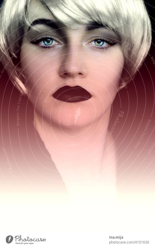 vigour portrait Woman Blonde Short-haired make-up spotless Make-up pretty Face Cosmetics Lipstick care Beauty & Beauty Feminine Glamor Skin blue eyes lid line