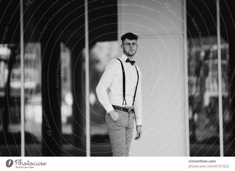 gentleman Clock successful Suspenders style Black and white photography Exterior shot Hip & trendy Modern Looking Model Street Business urban good-looking