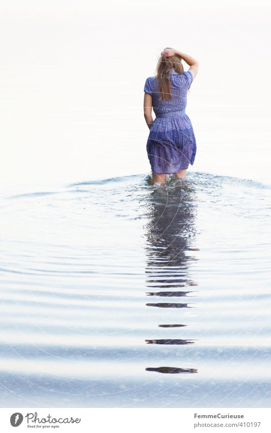 Human being Woman Nature Youth (Young adults) Beautiful Water Relaxation Calm Young woman Girl Adults 18 - 30 years Life Feminine Coast Lake