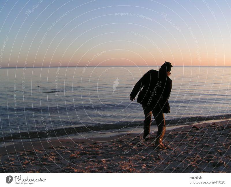 Man Ocean Beach Calm Loneliness Stone Horizon Romance Throw