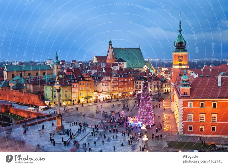 Old Town of Warsaw at Night above architecture attraction building castle city cityscape culture dusk evening twilight lights illuminated landscape europe