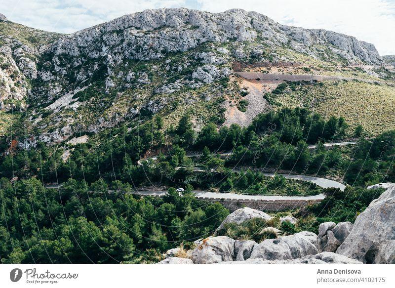 Winding Road of Palma de Mallorca, Spain mallorca palma palma de mallorca road winding hills winding road majorca island balearic spain forest trees cycling