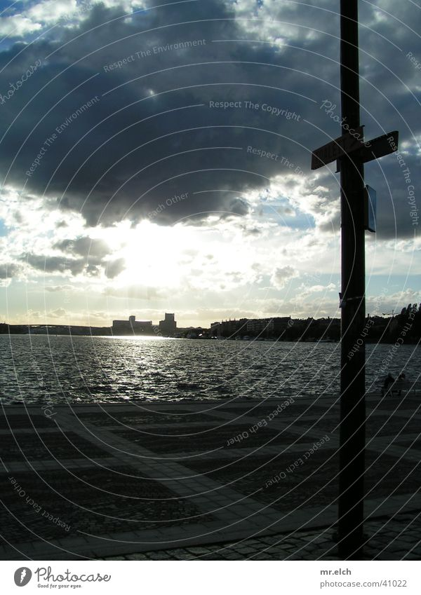 Water Sun Clouds Street Coast Horizon Europe Skyline Electricity pylon Stockholm