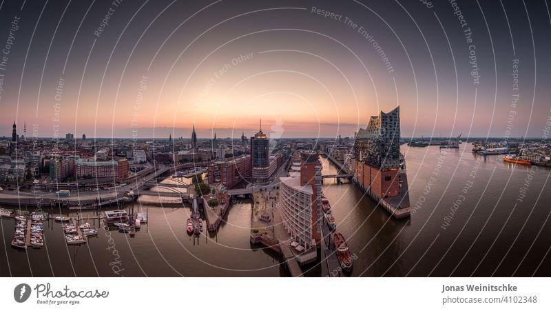 Panorama of the Hafencity and Speicherstadt in Hamburg in the morning hamburg aerial landungsbrücken germany sights speicherstadt historical architecture