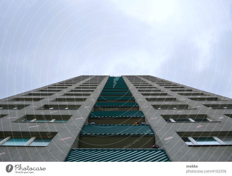 Symmetrical high-rise facade with balconies facing the sky House (Residential Structure) Concrete Architecture Marzahn Building Facade Balcony
