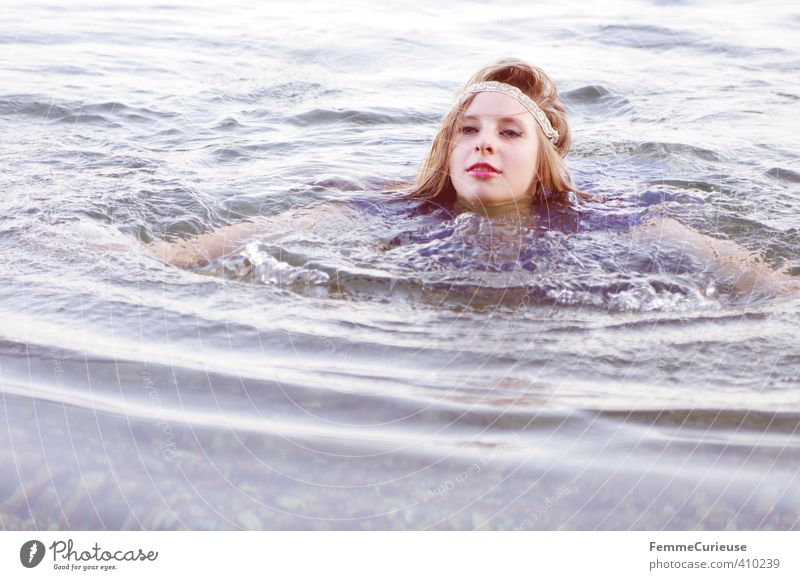 Human being Woman Nature Youth (Young adults) Beautiful Water Summer Relaxation Girl Young woman Adults 18 - 30 years Feminine Movement Swimming & Bathing Lake