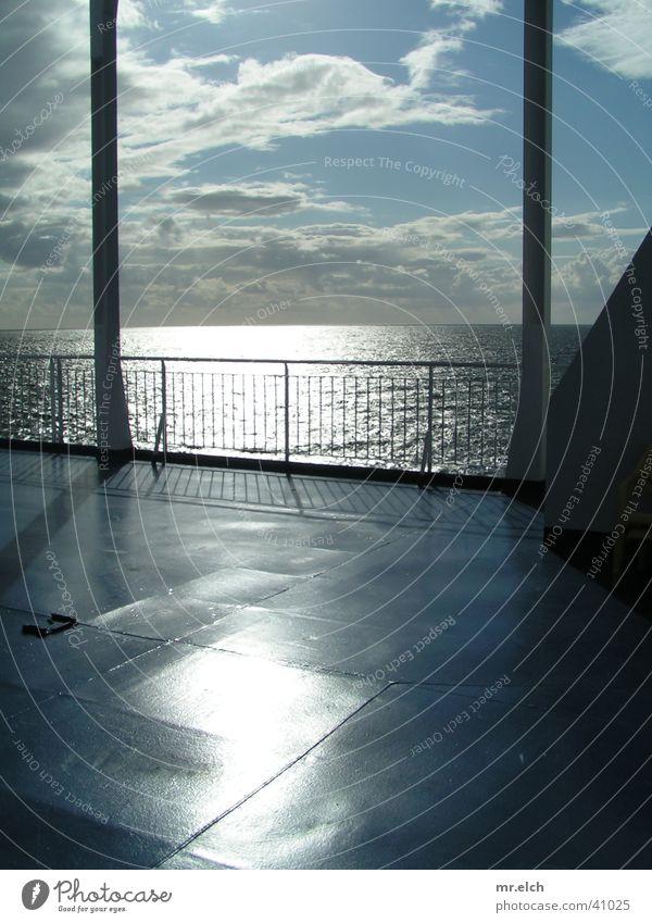 Gateway to the world Ferry Scandinavia Watercraft Back-light Clean Horizon Ocean Steel Reflection Navigation Sun Parking level rail Bleak Baltic Sea